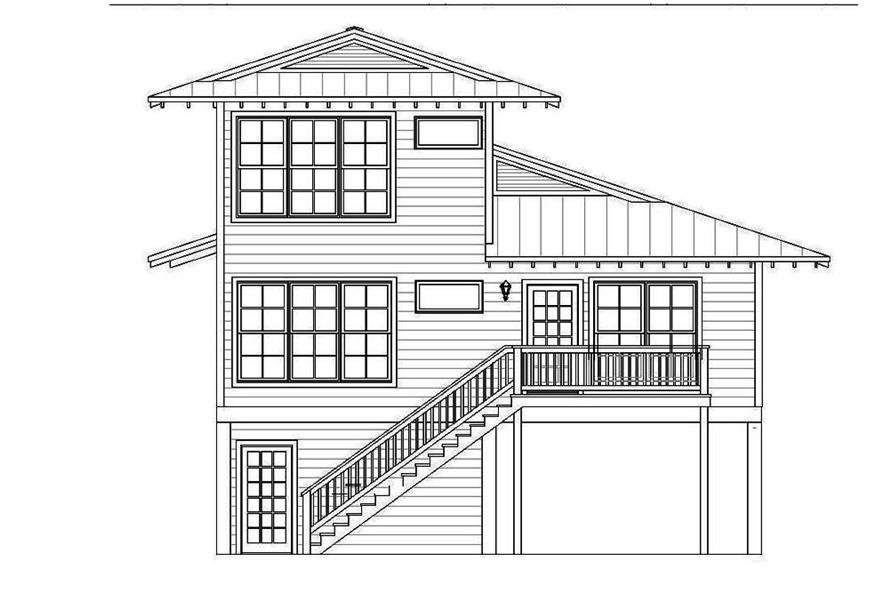 Home Plan Rear Elevation of this 4-Bedroom,2000 Sq Ft Plan -196-1061