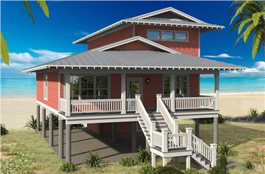 4-Bedroom, 2000 Sq Ft Vacation Homes House Plan - 196-1061 - Front Exterior