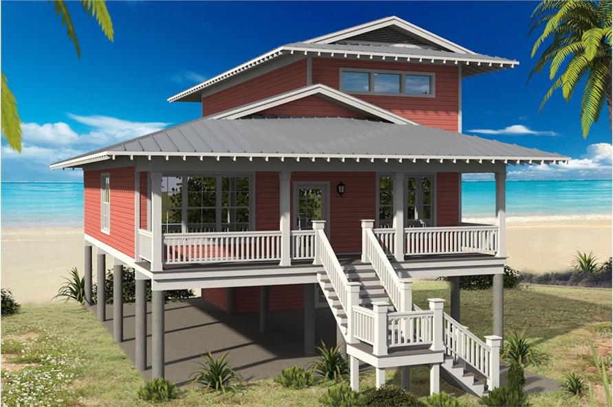 Color rendering of Vacation style home plan (ThePlanCollection: House Plan #196-1061)