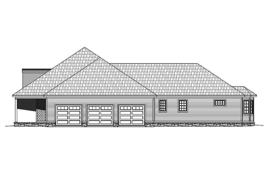 Home Plan Right Elevation of this 4-Bedroom,3491 Sq Ft Plan -196-1063