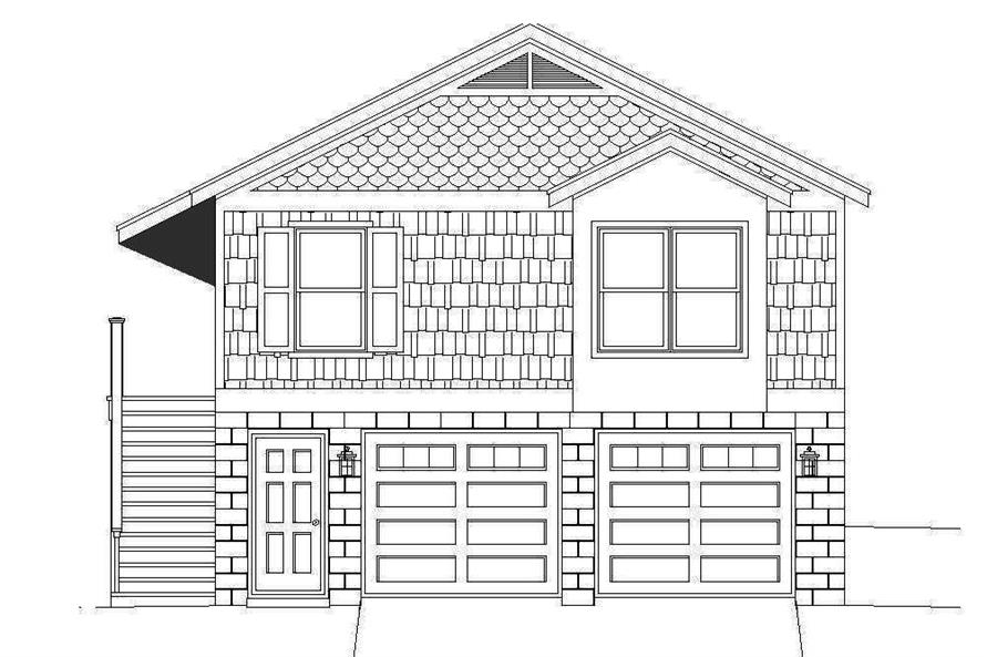 Home Plan Front Elevation of this 1-Bedroom,780 Sq Ft Plan -196-1068