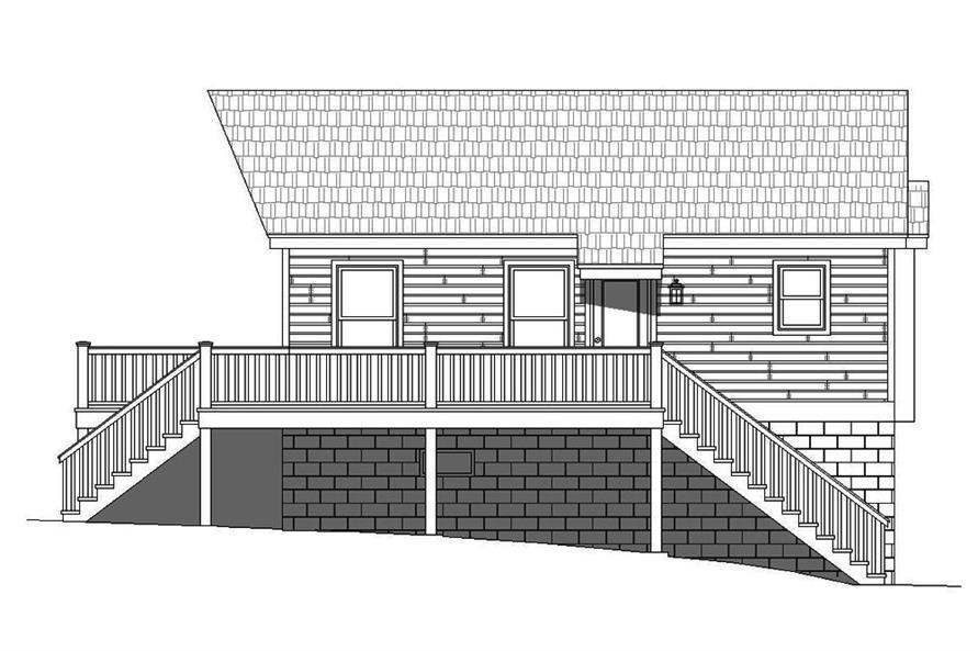 Home Plan Left Elevation of this 1-Bedroom,780 Sq Ft Plan -196-1068
