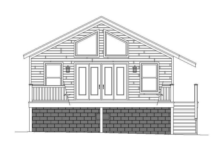 Home Plan Rear Elevation of this 1-Bedroom,780 Sq Ft Plan -196-1068