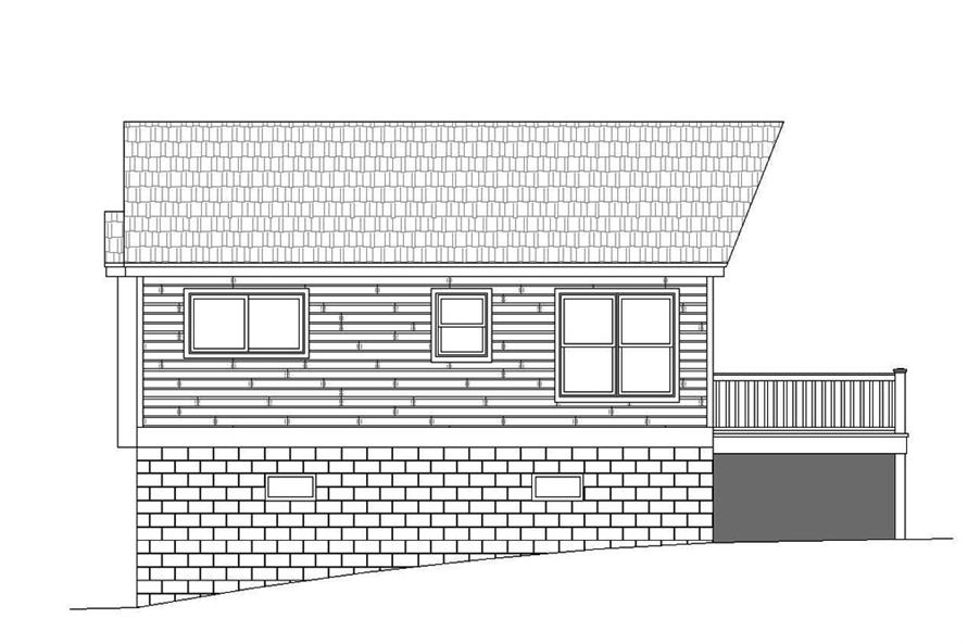 Home Plan Right Elevation of this 1-Bedroom,780 Sq Ft Plan -196-1068
