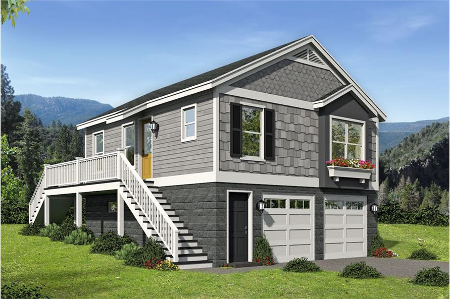 1-Bedroom, 780 Sq Ft Vacation Homes House Plan - 196-1068 - Front Exterior