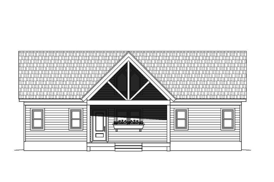 Home Plan Front Elevation of this 2-Bedroom,1273 Sq Ft Plan -196-1070