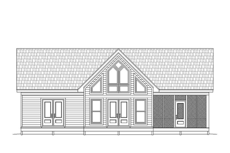 Home Plan Rear Elevation of this 2-Bedroom,1273 Sq Ft Plan -196-1070