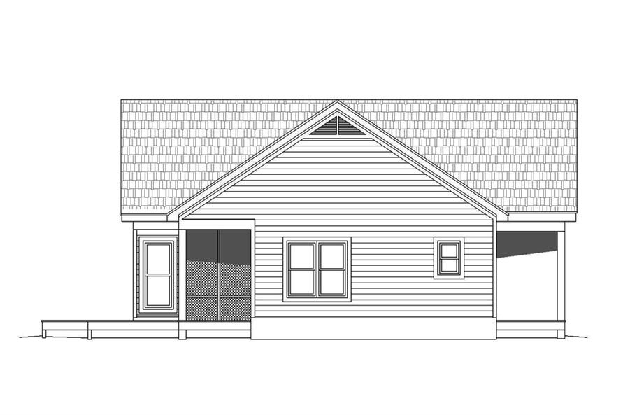Home Plan Left Elevation of this 2-Bedroom,1273 Sq Ft Plan -196-1070