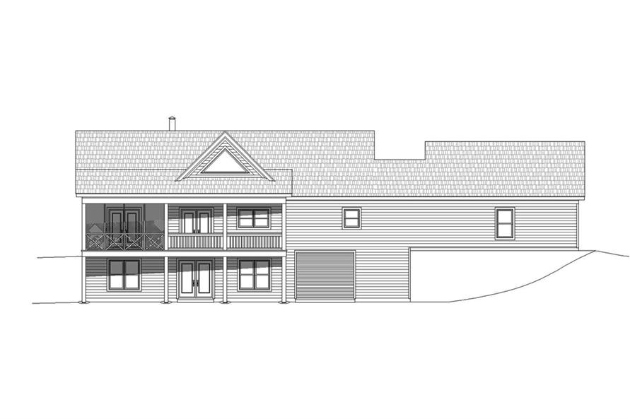 Home Plan Rear Elevation of this 2-Bedroom,1650 Sq Ft Plan -196-1072