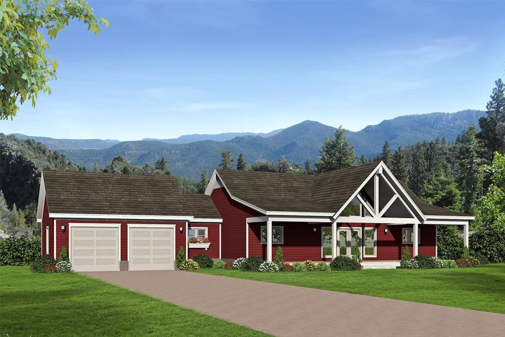 Barn-Style Country Ranch (Plan #196-1072)