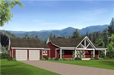 2-Bedroom, 1650 Sq Ft Country House Plan - 196-1072 - Front Exterior