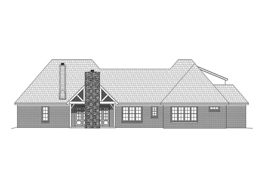 Home Plan Rear Elevation of this 3-Bedroom,2895 Sq Ft Plan -196-1078