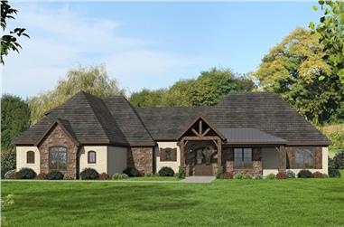 Front elevation of Traditional home (ThePlanCollection: House Plan #196-1080)