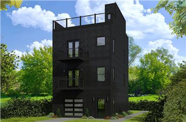 2-Bedroom, 1457 Sq Ft Modern Home Plan - 196-1081 - Main Exterior