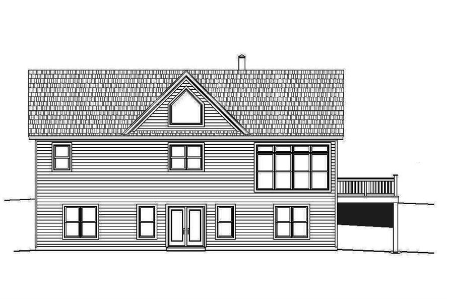 Home Plan Rear Elevation of this 2-Bedroom,2000 Sq Ft Plan -196-1083