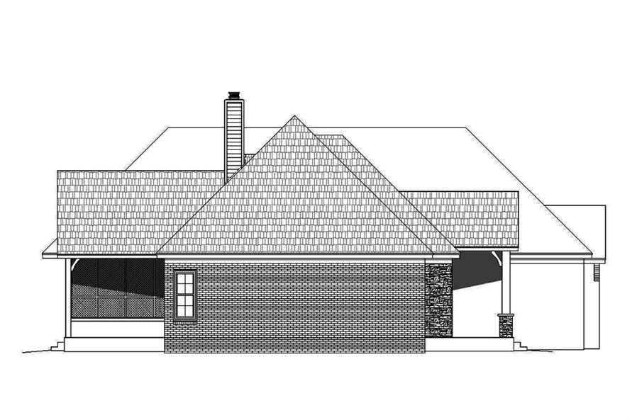 Home Plan Left Elevation of this 3-Bedroom,3452 Sq Ft Plan -196-1086
