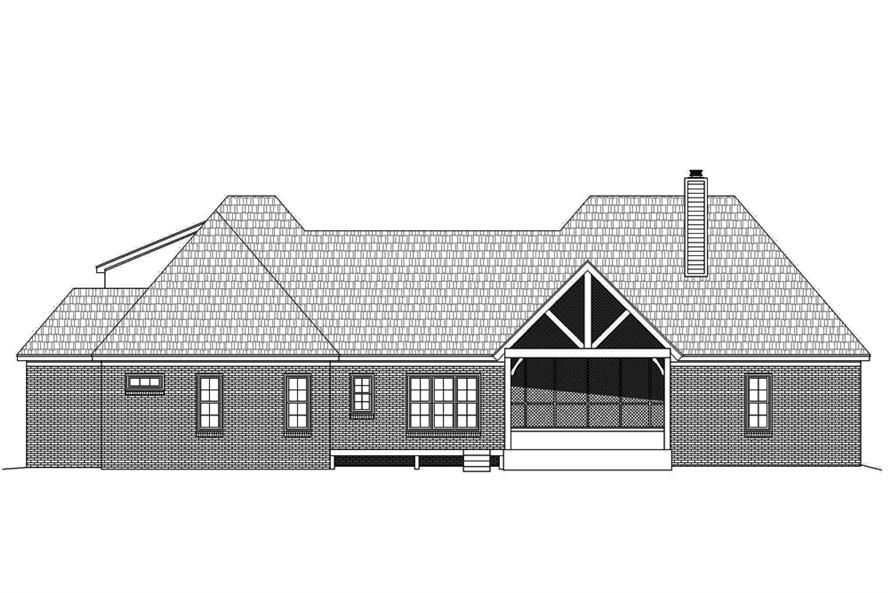 Home Plan Rear Elevation of this 3-Bedroom,3452 Sq Ft Plan -196-1086