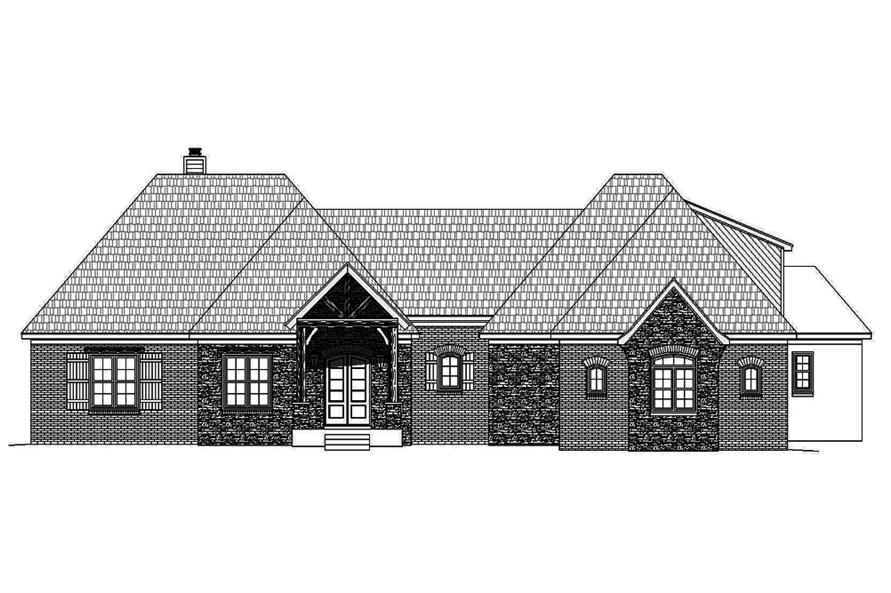 Home Plan Front Elevation of this 3-Bedroom,3452 Sq Ft Plan -196-1086