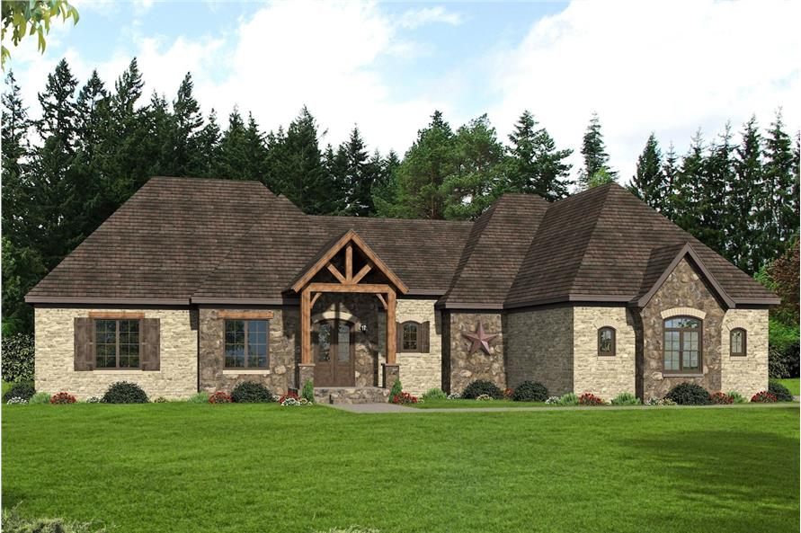 3-Bedroom, 3452 Sq Ft Mediterranean Home Plan - 196-1086 - Main Exterior