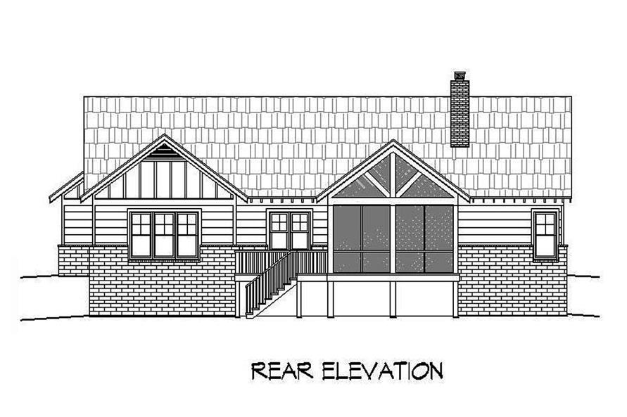 Home Plan Rear Elevation of this 3-Bedroom,2600 Sq Ft Plan -196-1089