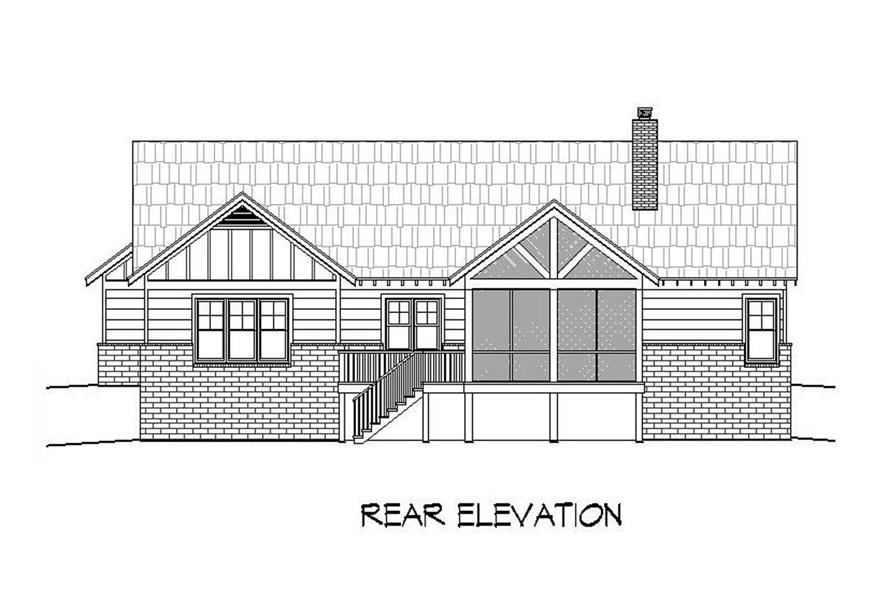 Home Plan Rear Elevation of this 3-Bedroom,2235 Sq Ft Plan -196-1090
