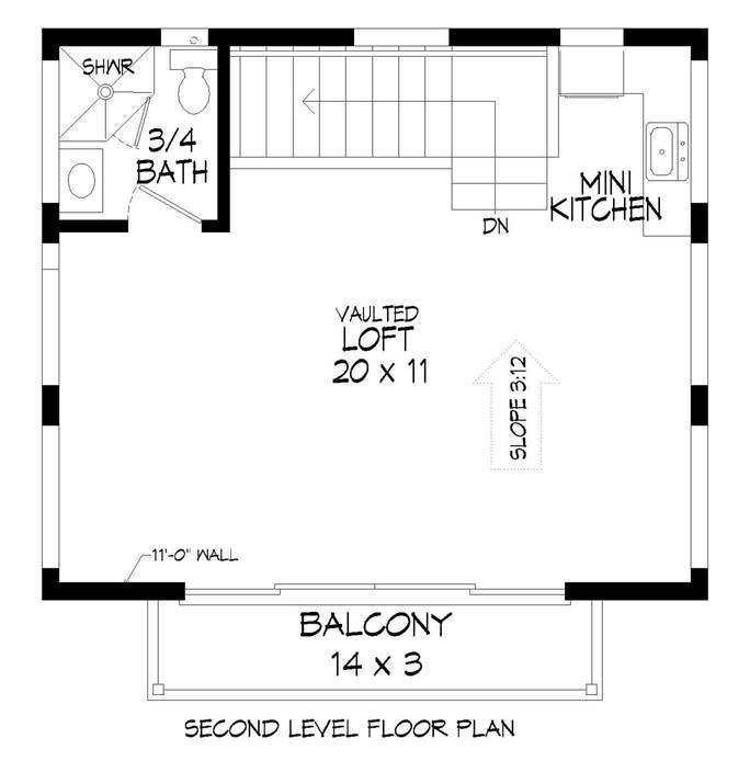 400 Sq Ft 1 Car Garage With Apartment Plan 1 Bath Balcony