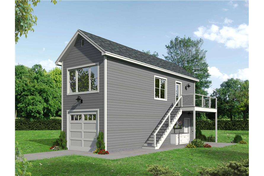 0-Bedroom, 561 Sq Ft Garage w/Apartments House Plan - 196-1099 - Front Exterior