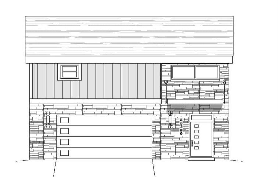 Home Plan Front Elevation of this 1-Bedroom,825 Sq Ft Plan -196-1100