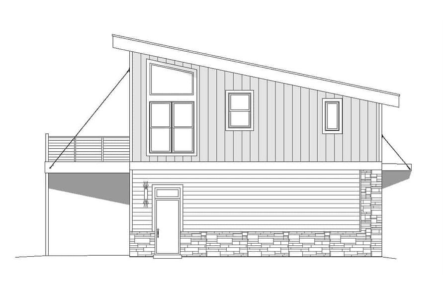 Home Plan Left Elevation of this 1-Bedroom,825 Sq Ft Plan -196-1100
