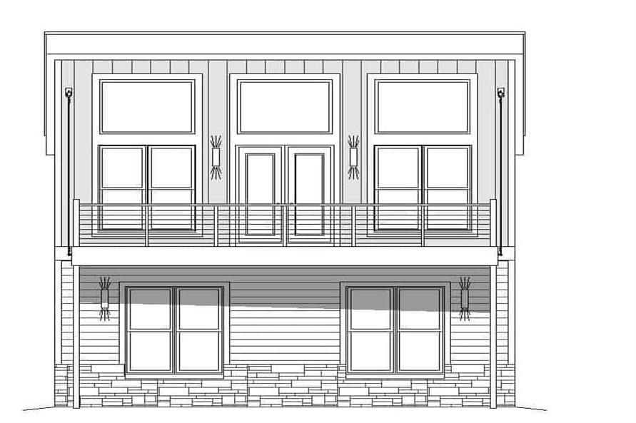 Home Plan Rear Elevation of this 1-Bedroom,825 Sq Ft Plan -196-1100