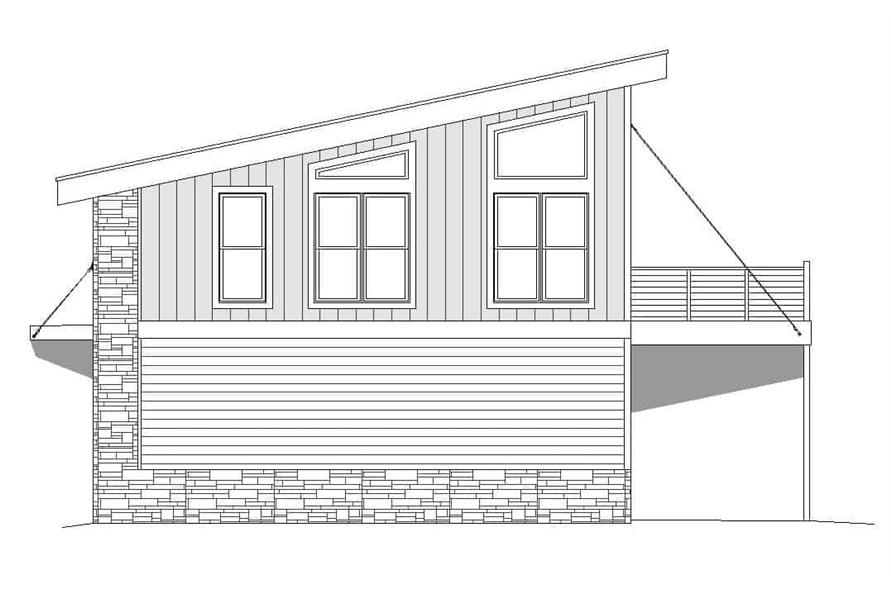 Home Plan Right Elevation of this 1-Bedroom,825 Sq Ft Plan -196-1100