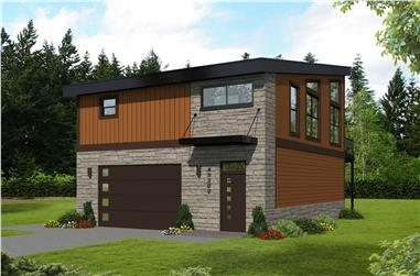 1-Bedroom, 825 Sq Ft Garage w/Apartments Home Plan - 196-1100 - Main Exterior