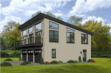 1-Bedroom, 1190 Sq Ft Modern House Plan - 196-1101 - Front Exterior