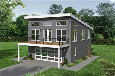 1-Bedroom, 831 Sq Ft Contemporary Home - Plan #196-1103 - Main Exterior