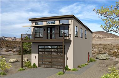 3-Bedroom, 1400 Sq Ft Modern Home Plan - 196-1104 - Main Exterior