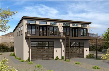 3-Bedroom, 1400 Sq Ft Modern House Plan - 196-1105 - Front Exterior