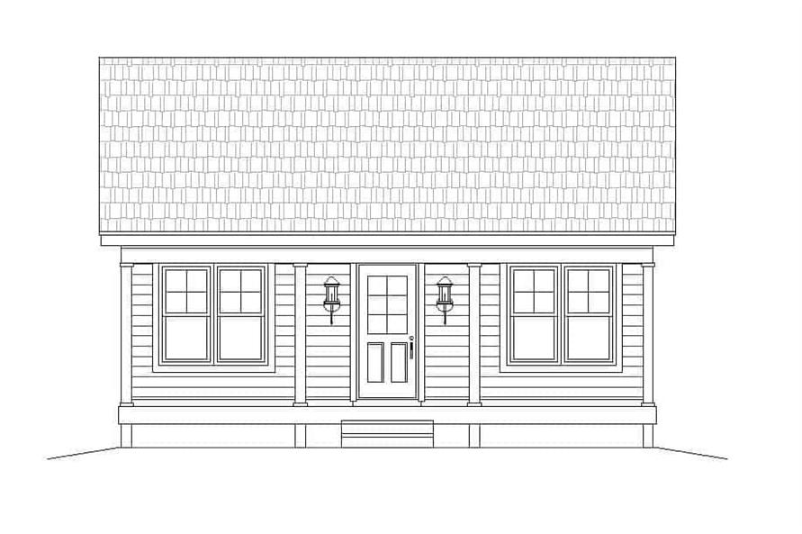 Home Plan Front Elevation of this 1-Bedroom,832 Sq Ft Plan -196-1112