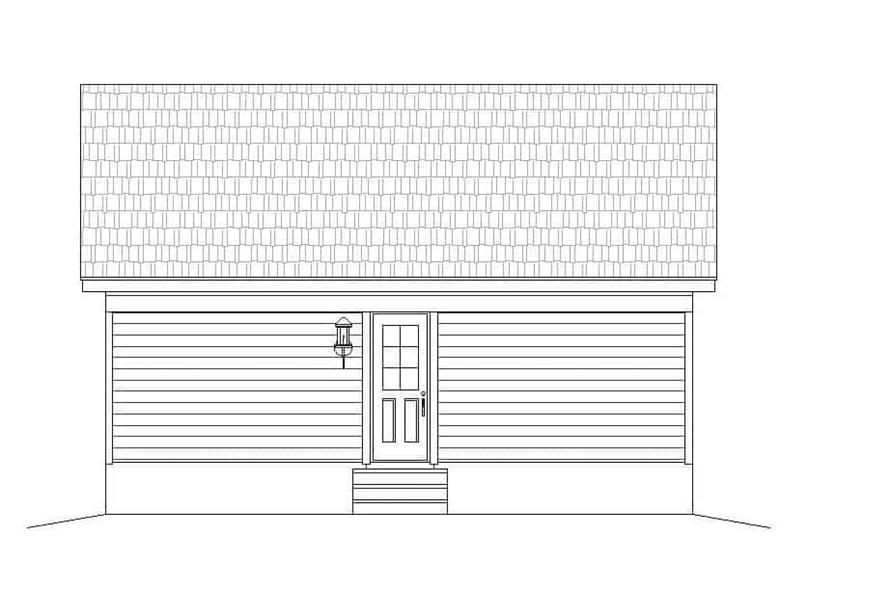 Home Plan Rear Elevation of this 1-Bedroom,832 Sq Ft Plan -196-1112