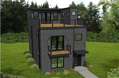 2-Bedroom, 1834 Sq Ft Modern Home Plan - 196-1113 - Main Exterior