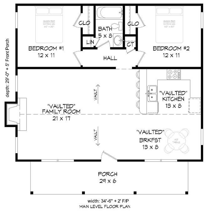 1000 Sq Ft Ranch House Plan 2 Bedrooms 1 Bath Porch