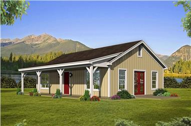 2-Bedroom, 1000 Sq Ft Ranch House Plan - 196-1117 - Front Exterior