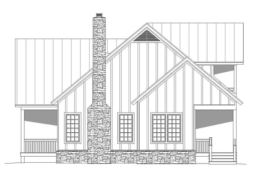 Home Plan Right Elevation of this 2-Bedroom,2065 Sq Ft Plan -196-1124