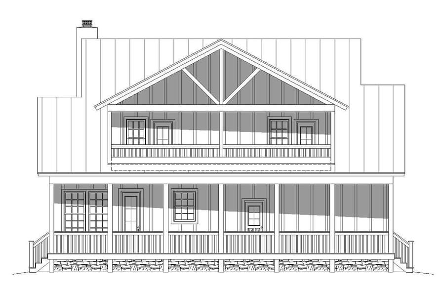 Home Plan Rear Elevation of this 2-Bedroom,2065 Sq Ft Plan -196-1124