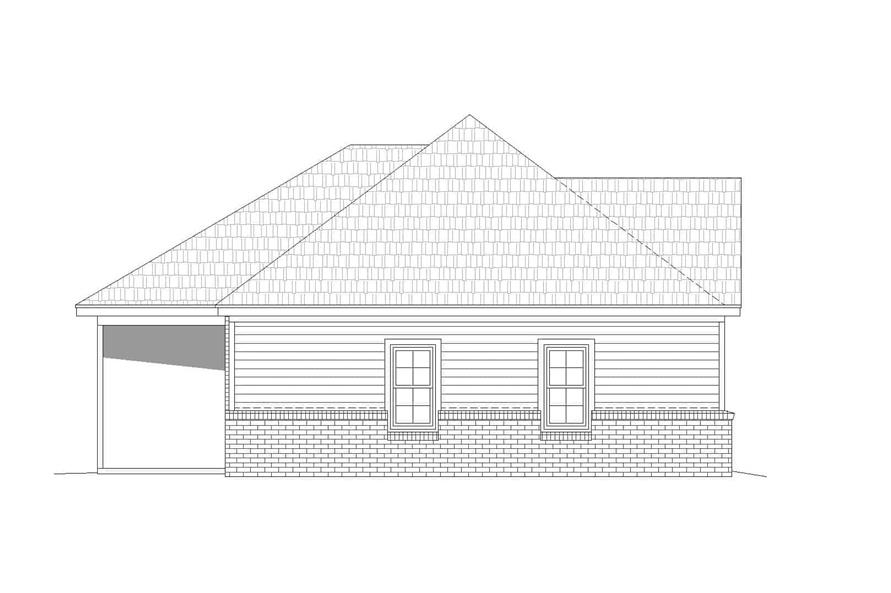 Home Plan Left Elevation of this 2-Bedroom,1234 Sq Ft Plan -196-1126
