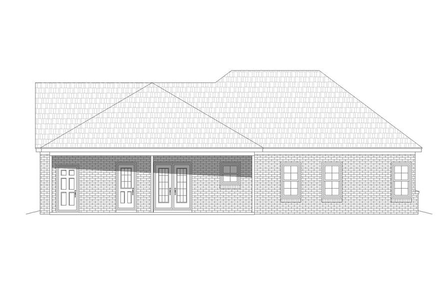 Home Plan Rear Elevation of this 2-Bedroom,1234 Sq Ft Plan -196-1126