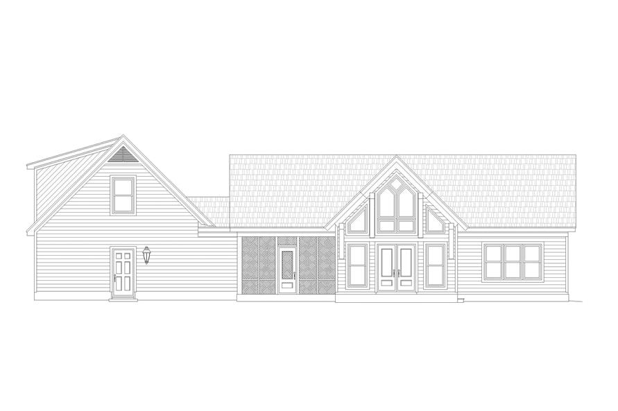 Home Plan Rear Elevation of this 2-Bedroom,1761 Sq Ft Plan -196-1128