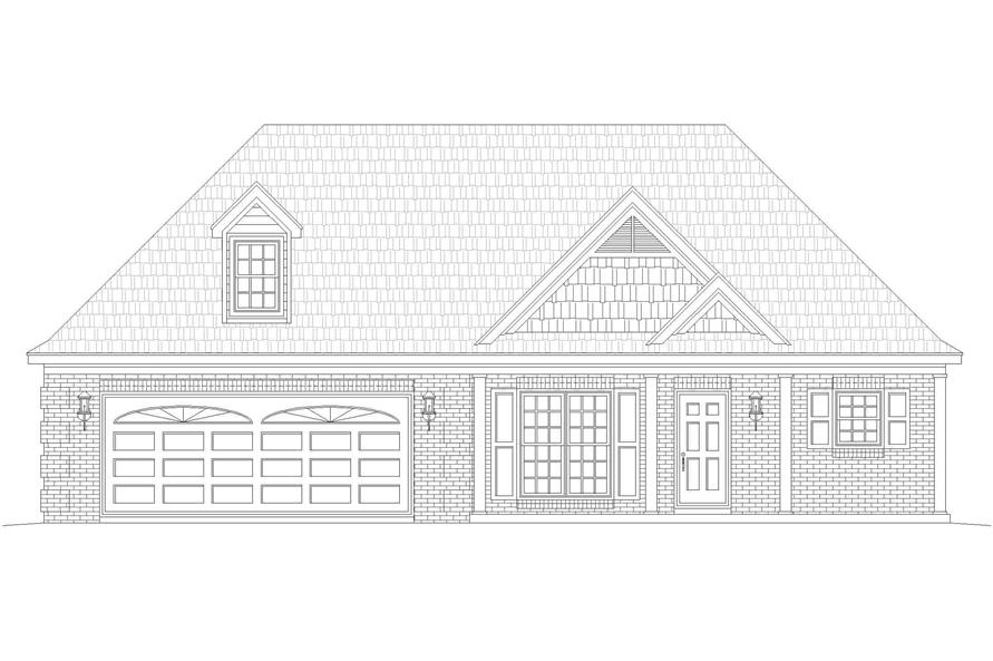 Home Plan Front Elevation of this 2-Bedroom,1370 Sq Ft Plan -196-1133