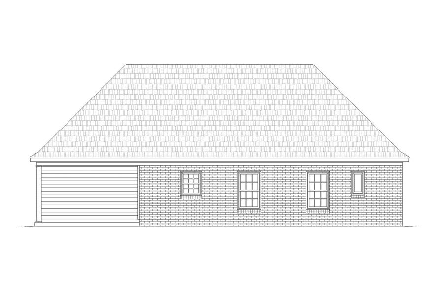 Home Plan Rear Elevation of this 2-Bedroom,1370 Sq Ft Plan -196-1133