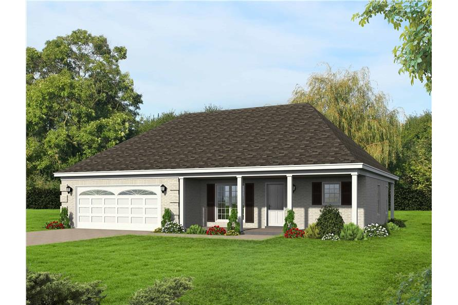 2-Bedroom, 1370 Sq Ft Coastal House Plan - 196-1133 - Front Exterior