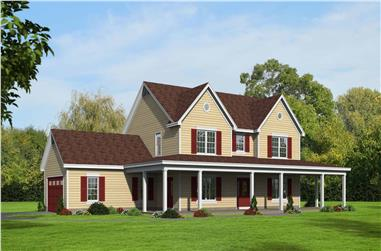 4-Bedroom, 2729 Sq Ft Country Home Plan - 196-1134 - Main Exterior
